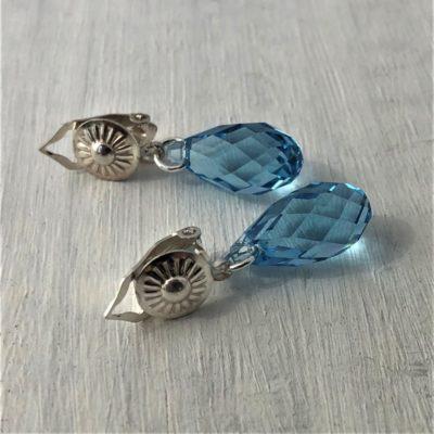 Clips Briolette cristal Swarovski pinces argent