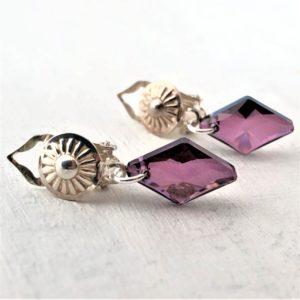Clips Losange cristal Swarovski sur pinces en argent
