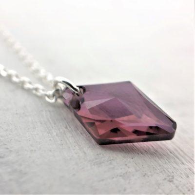 Collier Losange en cristal Swarovski sur chaine en argent Antik Pink