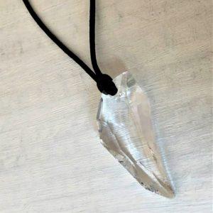 Collier Pegase en cristal Swarovski Cristal sur cordon satin noir