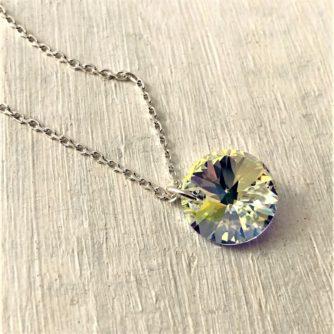 Collier Rivoli cristal Swarovski monté sur chaine argent Aurore Boreale