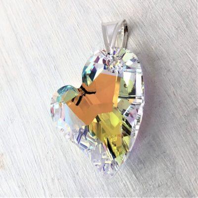 Pendentif Coeur Asymétrique cristal Swarovski 36mm Aurore Boreale sur bélière argent