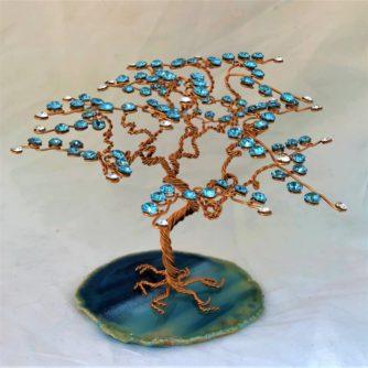 Arbre de Vie BM cristal Swarovski bleu fils de cuivre support agate