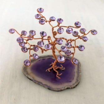 Arbre de Vie G minis cristal Swarovski Violet cuivre agate