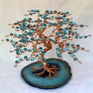Arbre de Vie GBMU Bleu cristal Swarovski, fils de cuivre agate