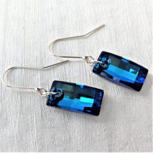 Boucles d'oreilles Urban cristal Swarovski 20 mm crochets en argent Bermuda Blue