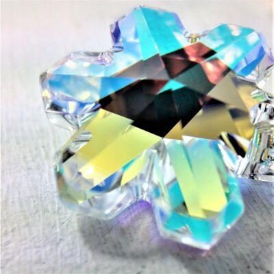 Pendentif Flocon de neige cristal Swarovski bélière argent aurore boréale
