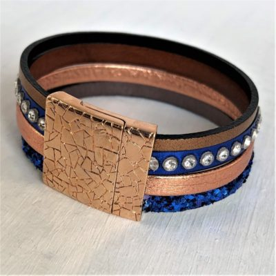 Bracelets manchette multirangs cuir et cristal Swarovski