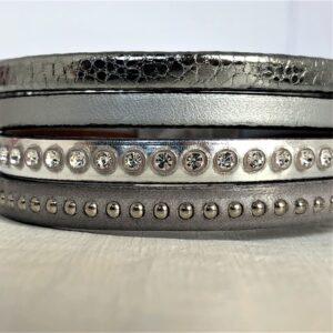 Bracelet cuir manchette 4 rangs 19,5 cm cristal Swarovski argent gris fermeture aimanté