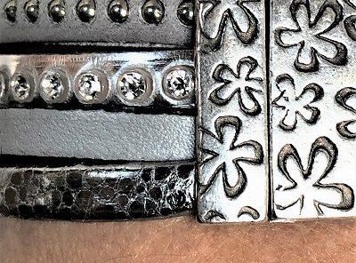 Bracelet cuir manchette 4 rangs 19,5 cm cristal Swarovski argent gris fermeture aimanté argenté