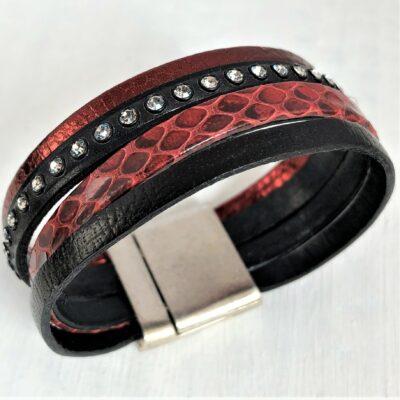 Bracelet cuir manchette 4 rangs cristal Swarovski prune noir 18.5 cm fermoir aimanté motif serpent