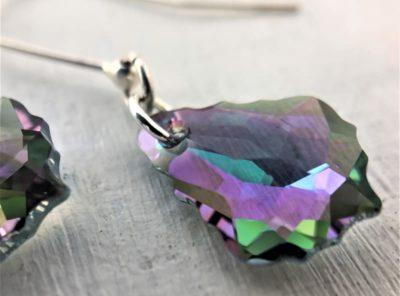 Boucles d'oreilles pendantes en argent et cristal Swarovski