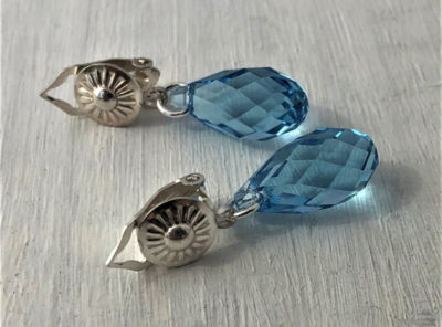 Boucles d'oreilles clips en argent et cristal Swarovski